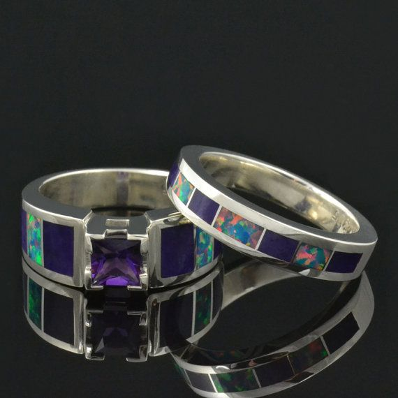 Unique Wedding Band And Engagement Ring Set With Lab Created Opal Sugilite Inlay Featuring A Carat Princess Cut Amethyst In Sterling Silver