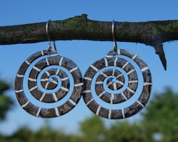Spiral Earrings Black and White Enameled Metal Stainless Steel, Handpainted Patterns, Artisan Snake, Swirled Design, Mystical Spiral Jewelry by CinkyLinky on Etsy