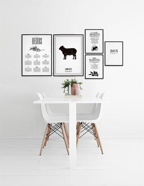 Tavelvägg till köket. Snygga posters och affischer i ett tavelcollage bredvid bordet. Motiv med drinkrecept, styckningsschema, örter, Bon apetit. Desenio.com