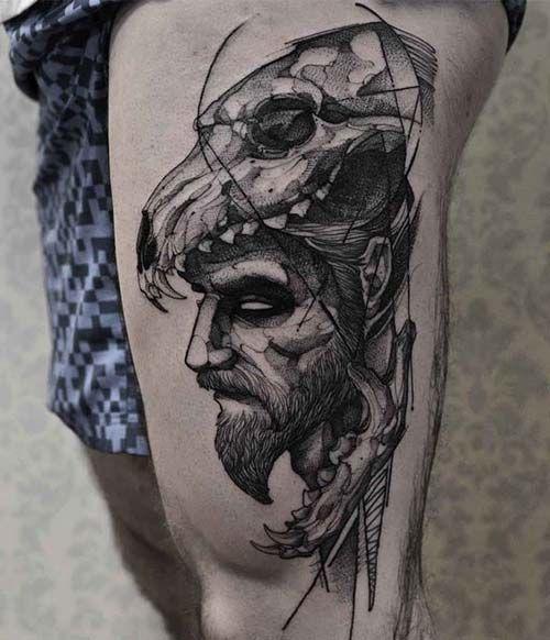 erkek üst bacak dövme modelleri man thigh tattoos 29