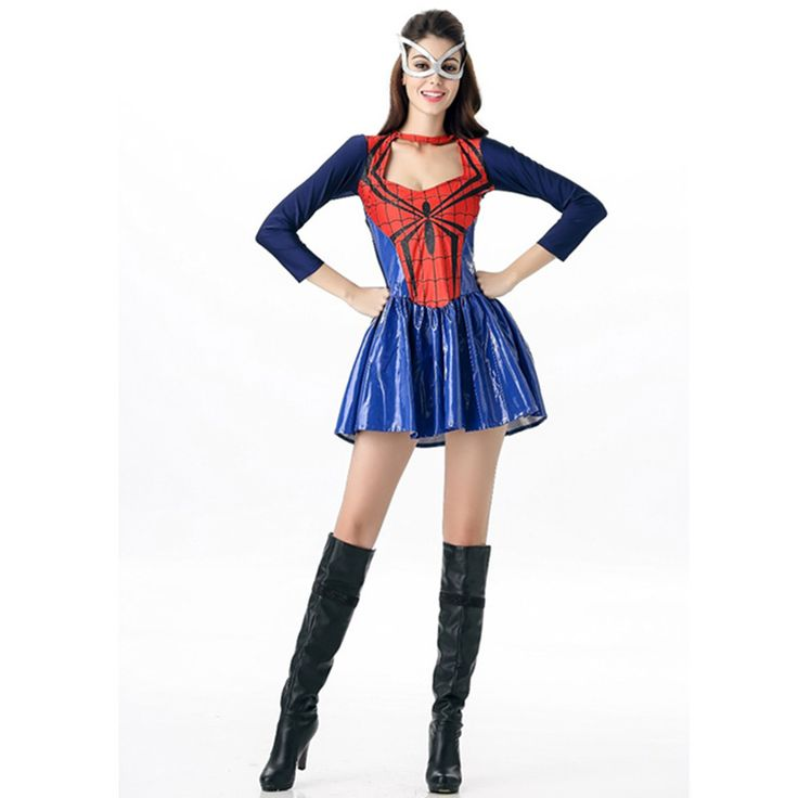 ==> [Free Shipping] Buy Best Hot Women Spider Sexy Costumes Women Halloween Mask Ball Masquerade Party Clohing Spiderman Cosplay Outfit Fancy Dress Online with LOWEST Price   32721958110