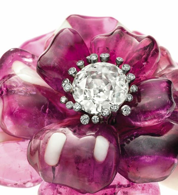 Pair of tourmaline and agate camellia brooches by JAR, 1985