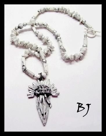 "A Vintage Cast ""Woven"" Sunburst Dagger Pendant With Howlite Gems - Jewelry creation by Jewelry as Artistic Expression"