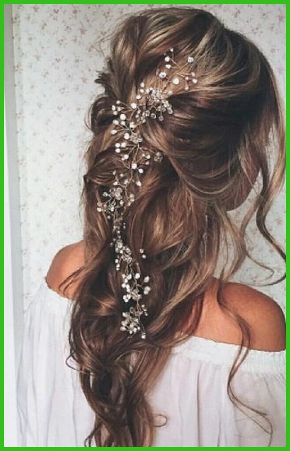 A Couper Le Souffle Sale Crystal And Pearl Vine Chevelure Superieur Eleve Hair Vine Bridal Hai Cheveux De Mariee Coiffures De Mariage Ondulees Coiffure De Bal