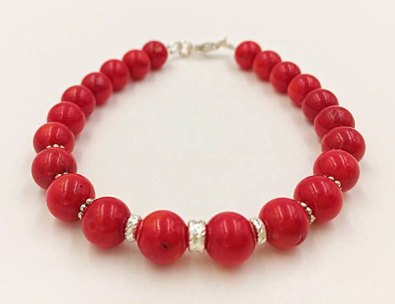 Smooth Red Coral Coral Women Bracelet Diamond Cut Beads