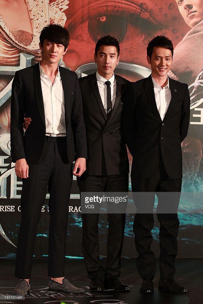 Actors Lin Gengxin, Mark Chao and William Feng attend 'Young Detective Dee: Rise of the Sea' press conference at Kerry Centre Hotel on September 23, 2013 in Beijing, China