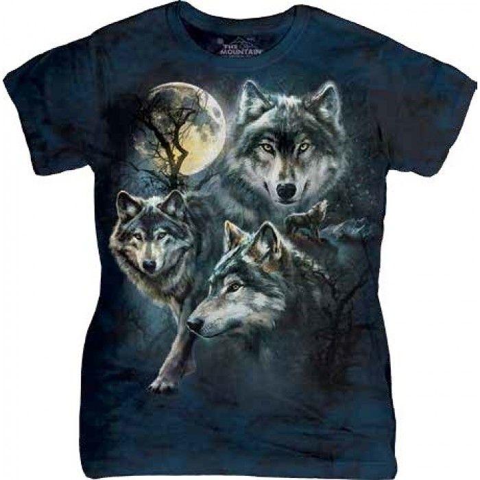 Tricouri The Mountain – Tricou Moon Wolves Collage Dama