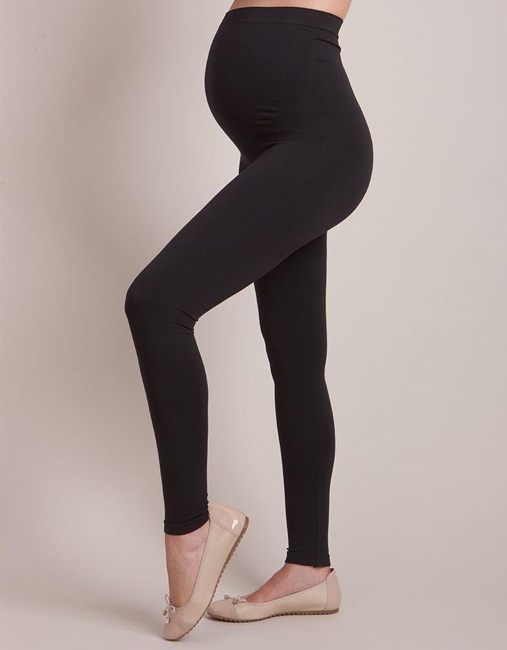 Seraphine Black Seamless Over Bump Maternity Leggings