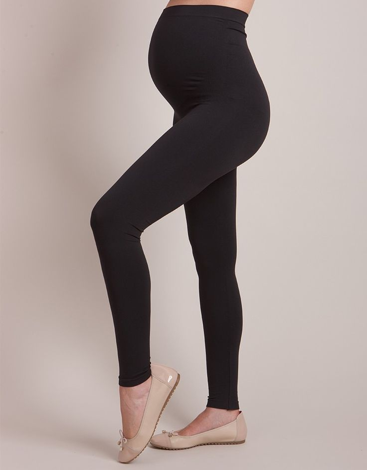 Seraphine Black Seamless Over Bump Maternity Leggings