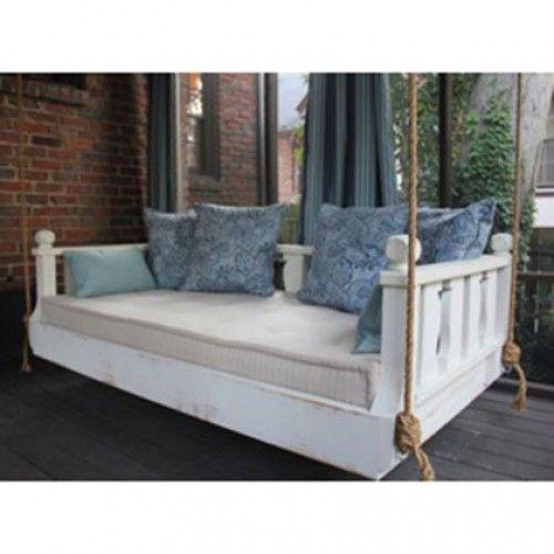 Ridgidbuilt New Orleans Hanging White Porch Swing Bed