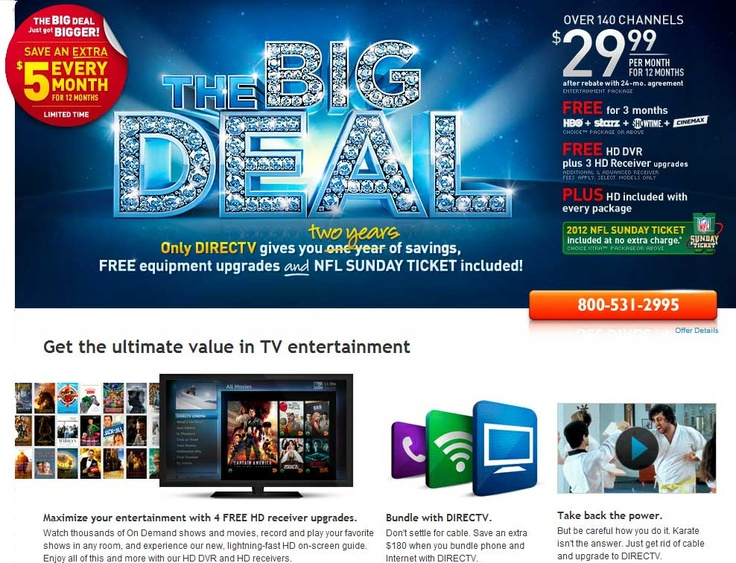 DIRECTV call 18005312995 and give promo code 1010 To
