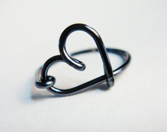Heart Rings  Black Rings  Black Heart Ring by SimplyEarcuffs, $9.50