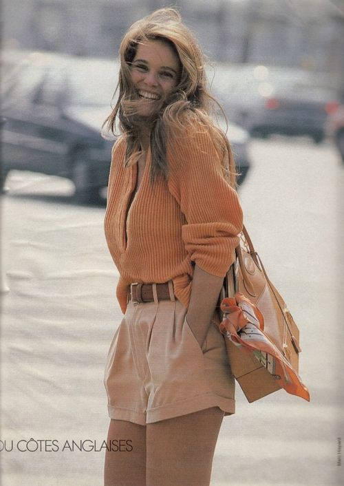 """Shorts En Ville"", ELLE France, June 1990 Photographer : Marc Hispard Model : Elle MacPherson  Color palette love"
