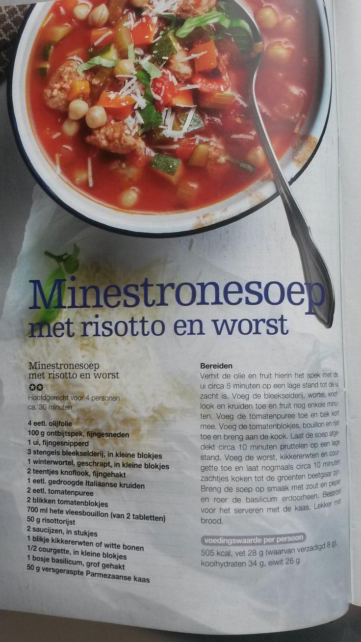 Minestronesoep met risotto en worst