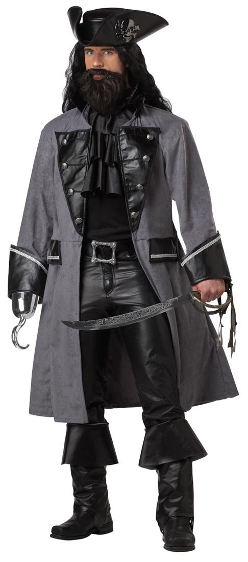 A sinister pirate. This listing is for Blackbeard the Pirate Adult Plus Costume. Includes: Pirate Coat, Hat, Jabot, and Belt. Does not include sword, beard, wig, pants, hook hand or boots.