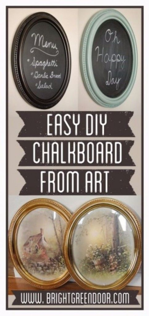 DIY Chalkboard Paint Ideas for Furniture Projects, Home Decor, Kitchen, Bedroom, Signs and Crafts for Teens. |  Easy DIY Chalkboard Fom Framed Art  |  http://diyjoy.com/diy-chalkboard-paint-ideas