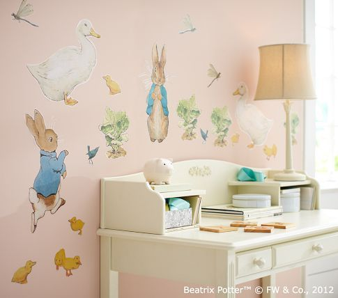 Pottery barn kids peter rabbit wall decals on sale for Beatrix potter mural wallpaper
