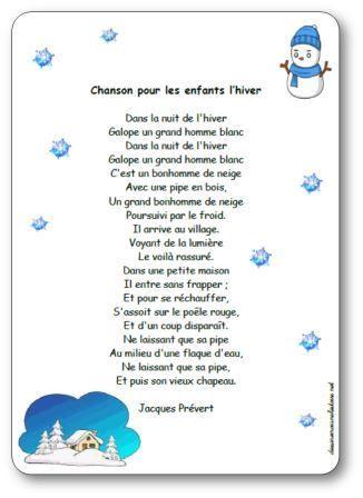 Paroles de la poésie Chanson pour les enfants l'hiver : Dans la nuit de l'hiver, Galope un grand homme blanc, Dans la nuit de l'hiver...