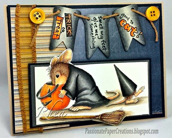 """Rhea Weigand: Passionate Paper Creations –  Witch Treats - Stampendous - 9/2/14  (Stampendous House Mouse - """"Which Treats"""")"""