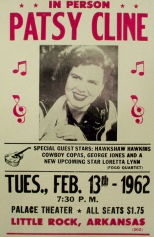 February 13, 1962: Patsy Cline performed at the Palace Theater in Little Rock, AR.