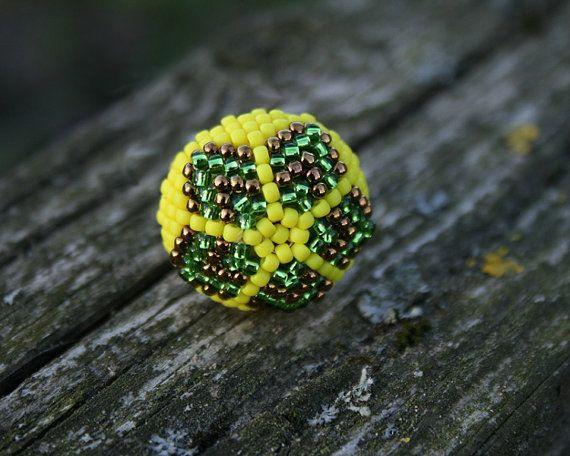 hippie ring beadwoven ring statement ring ring for her, #hippiering, #beadwovenring, #springring, #beadedring, #yellowgreenring