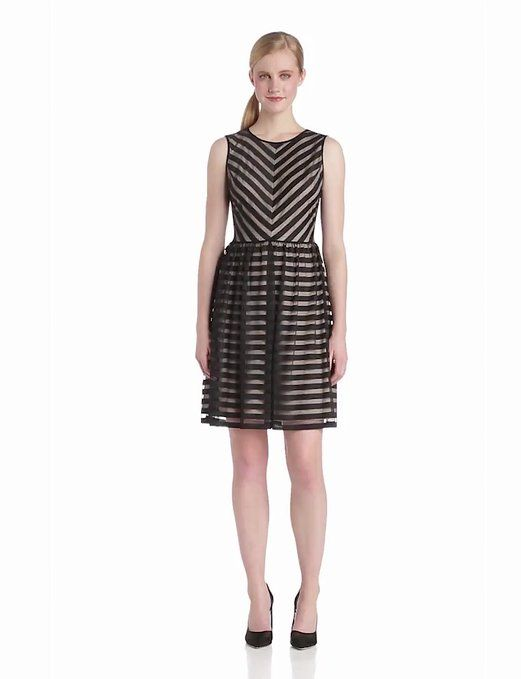 London Times Women's Sleeveless Stripe Mesh A Line Dress, Black/Nude, 6 at Amazon Women's Clothing store