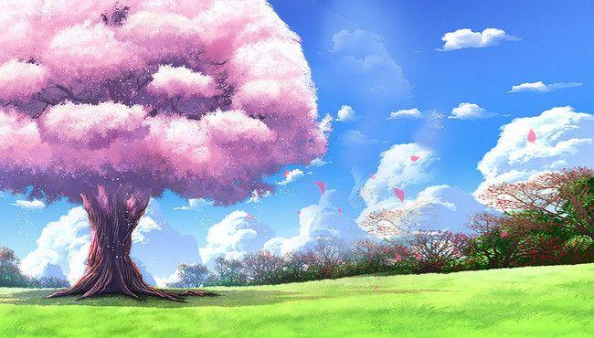 Beautiful Dream Sakura Tree Poster Background Psd Anime Background Anime Backgrounds Wallpapers Scenery Background Beautiful amazing anime wallpaper