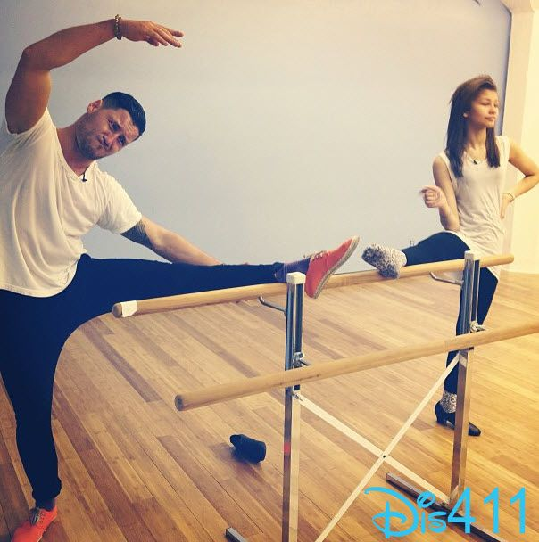 Photo: Zendaya And Val Chmerkovskiy Stretching March 8, 2013