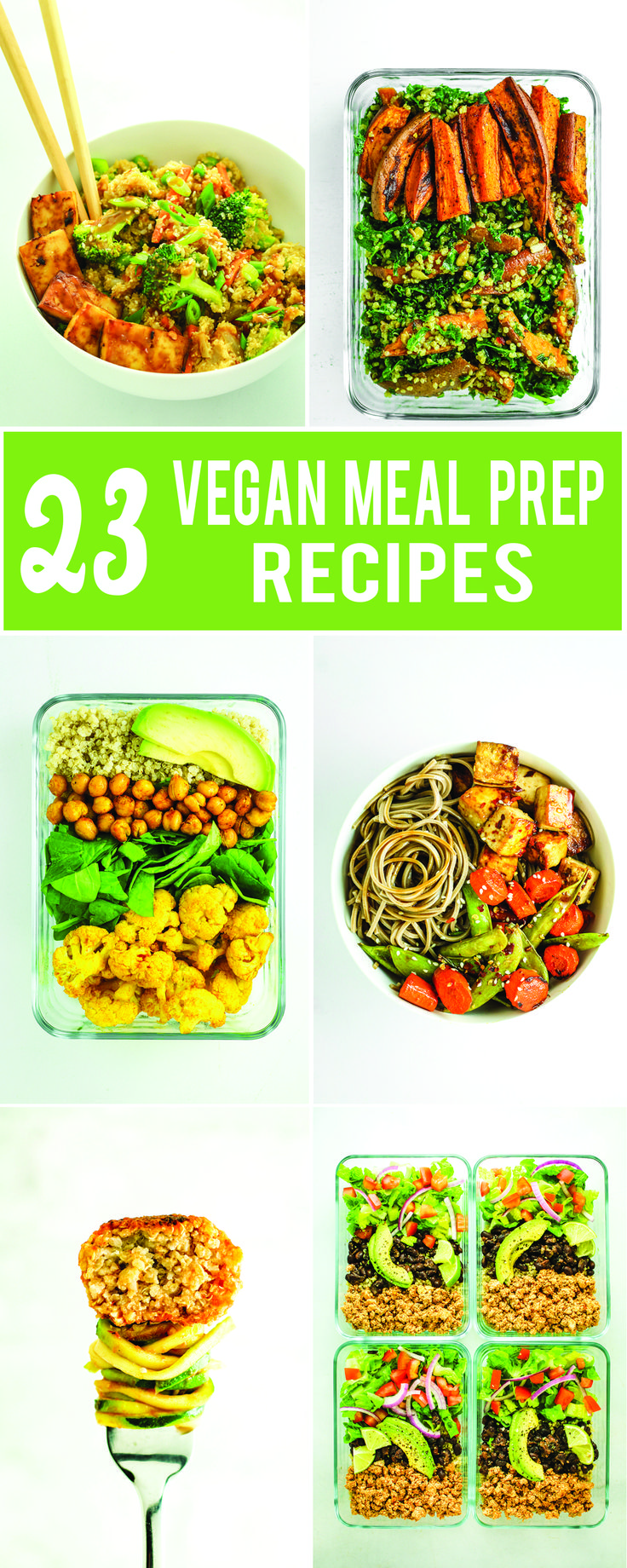 BEST Vegan Meal Prep Roundup - Burrito bowls, lettuce wraps, breakfast burritos, salads, etc. A few side dish ideas are included too - good for adding to your favorite grain + protein combo!