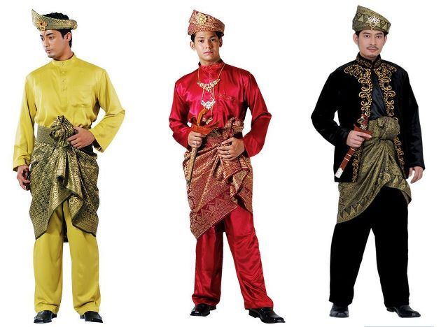 Traditional wear for men called baju melayu. Nowdays used mostly on formal occasions like weddings and Eid celebrations. The waist cloth and headgear is expensive material which is intricately weaved on handlooms with special thread.