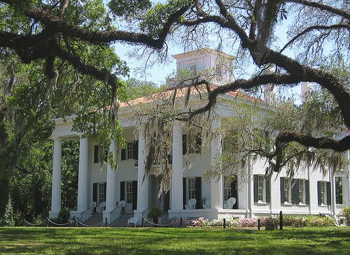 D'Evereux Plantation, Natchez, Miss., built in 1840, a fine example of the Greek Revival style. One of the first residential structures constructed in Natchez with a full-length monumental, two-storey portico; the white columned look that would be stereotyped as southern architecture in later years. D'Evereux also marks the first appearance of a cupola in Natchez residential architecture.