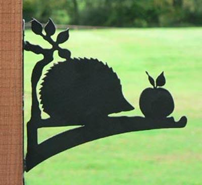 Hedgehog Hanging Basket Bracket Garden Ornament