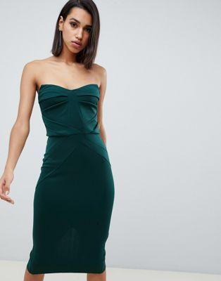 DESIGN seamed bandeau midi bodycon dress