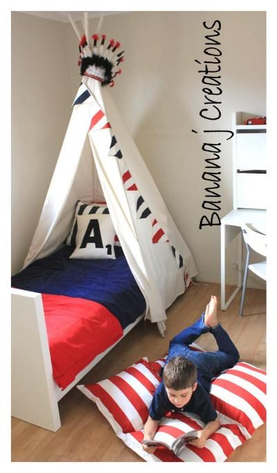 Boys room tee pee bed canopy banana j creations product for Canopy boys