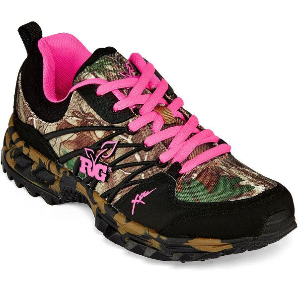 Realtree Ms. Bobcat Womens Athletic Shoes ($55) ❤ liked on Polyvore featuring shoes, athletic shoes, synthetic shoes, camouflage shoes, arch support shoes, realtree shoes and laced shoes
