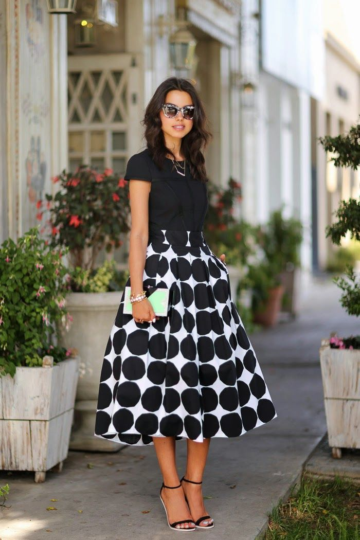 black top and dotted skirt