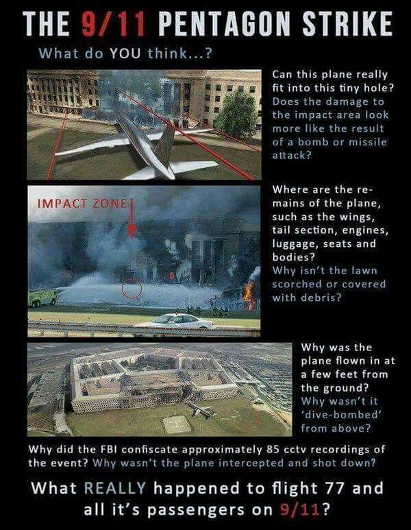 Algo extraño no encaja aqui......no asientos, no maletas, no restos del avion....material confiscado por el FBI, un avion que se consume a si mismo y del cual no hay un solo testigo que lo haya visto volar hacia su blanco....?