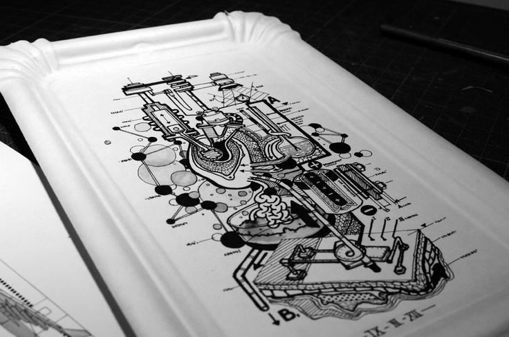 Martin Tibabuzo / Rotring and ink on Paper tray.