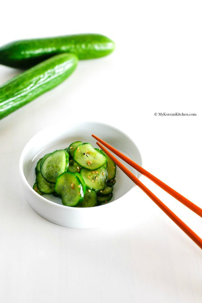 Sautéed Korean Cucumber Side Dish - Easy, simple, crunchy and delicious stir fried Korean cucumber salad | MyKoreanKitchen.com