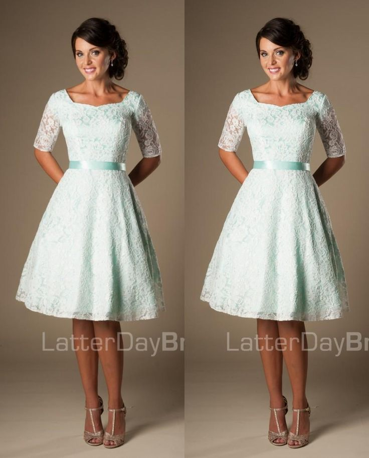 Vintage Mint Lace Knee Length Short Modest Bridesmaid Dresses With Half Sleeves…