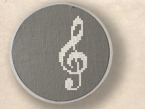 Treble clef. Musical Note Cross Stitch PDF Pattern. $2.50, via Etsy.