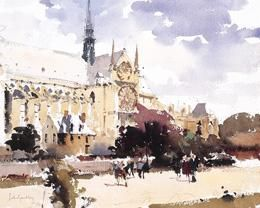 """Strolllers at Notre Dame, by John Yardley 15""""X11"""""""