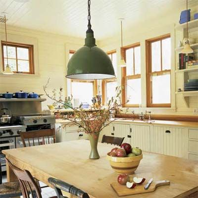 Arge Green Pendant Light Hanging Above A Rustic Kitchen Table Pendantlight Lighting