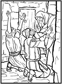 Jesus Healing The Blind Man Coloring Page And People Praising Christ For His Miracle Download Free