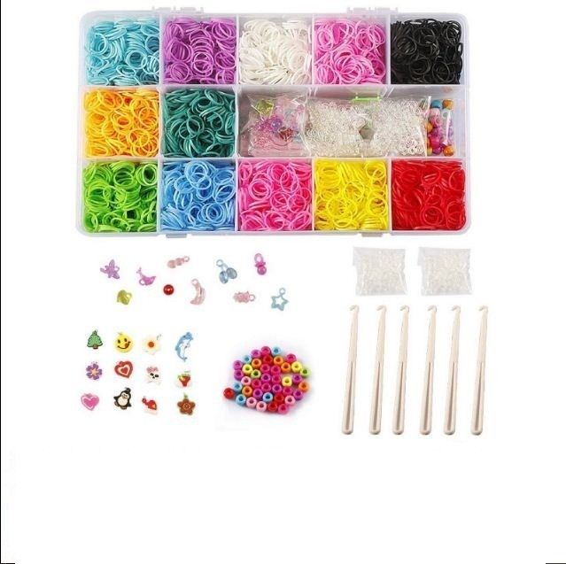 Rubber Bands Rainbow Loom Bracelet Craft Kit Hook & Beads Storage Case Organizer #STSTECH #hererehooksbeadscharmsandclipsBIGLOOMBOARD