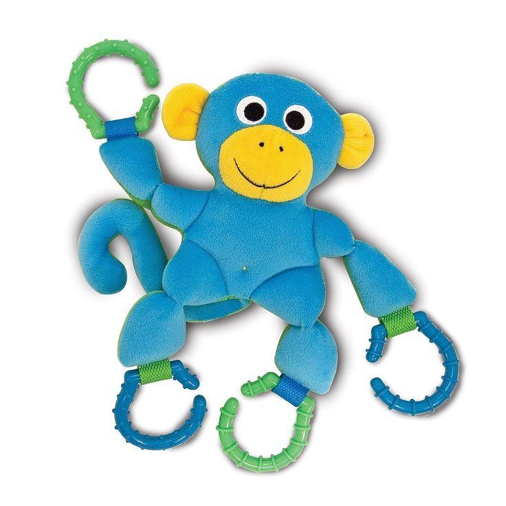 Melissa & Doug - Linking Monkey Grasping Toy for Baby - Teething Rings Hook Onto Stroller