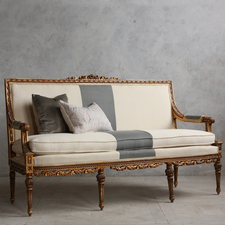 Eloquence One of a Kind Vintage Settee Louis XVI Worn Gilt @Sarah Chintomby Chintomby Nasafi Grayce