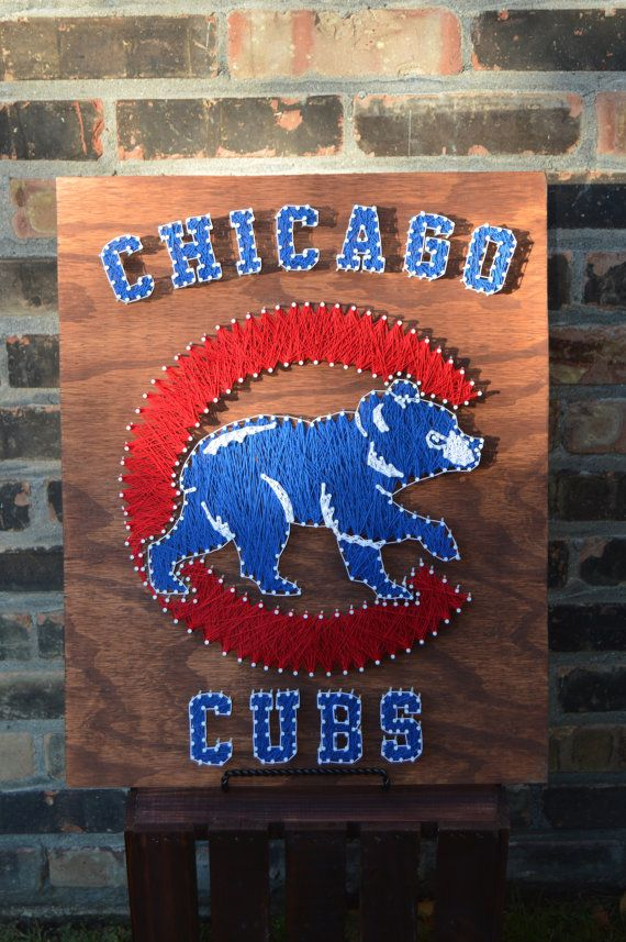 Chicago Cubs String Art Large by StringsAndThings11 on Etsy
