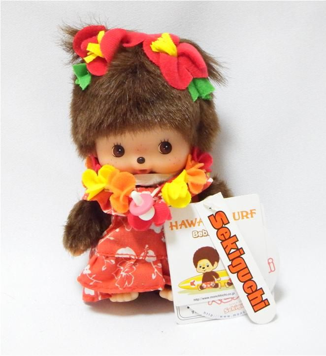 Bebichhichi 234130 - Bebichhichi Hawaii Girl. Authentic Bebichhichi doll from Sekiguchi. About 14cm. Suitable for child aged 6 years old and above. Ideal Birthday gift, Valentine's Day gift, Christmas gift, New Year gift, Children's Day gift and Housewarming gift! A favourite for Monchhichi & Bebichhichi doll collectors too!