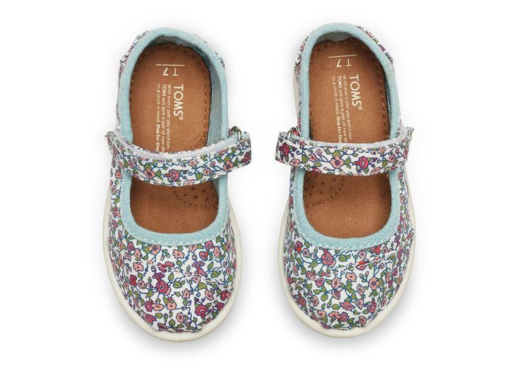 Ditsy Floral on Canvas Tiny TOMS Mary Janes | TOMS